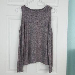 Pink Marbled Cold Shoulder Sweater Size S